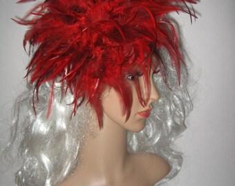 Fiery feather fascinator