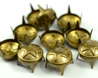 100 Pieces Antique Brass  9 mm Round Stud Spike, For Leather and Dress