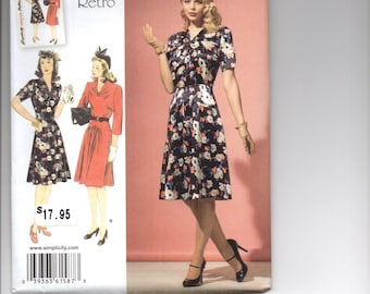 Simplicity 1587 Ladies 1940 Retro dress pattern