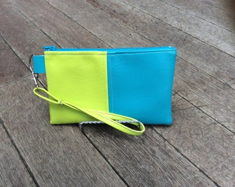 Wristlet Clutch Purse Marine Vinyl Color Blocked