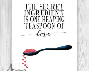 Art for Kitchen - Typography Art and Modern Illustration Print - Teaspoon of Love Food Print - Kitchen Decor