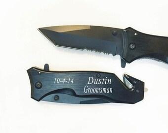 Groomsmen Gift- Personalized  Black Hunting Pocket Knife ,Engraved Knife, Custom knife with free engraving