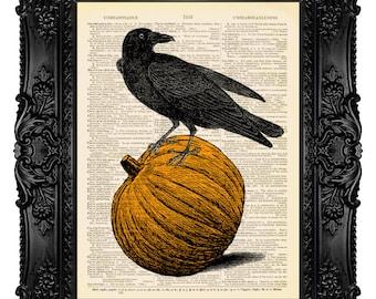 Halloween Pumpkin Halloween Art, Halloween Home Decor Raven Art Raven Dictionary Art Print  460