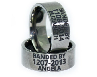 Custom ENGRAVED Wedding Ring - Duck Band - Anniversary Gift