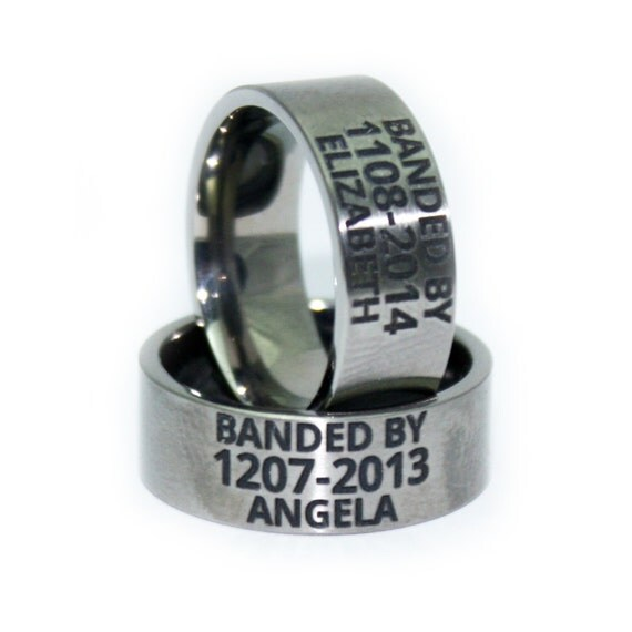 Custom ENGRAVED Wedding Ring Duck Band Anniversary Gift