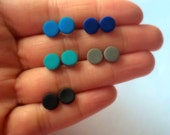 Five Sets of Matte Black Studs Unisex Small Post Studs blue black grey