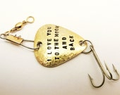 Custom Fishing Lure Brass metal Handstamped Personalized Message Names Date Initials Fisherman Men Father Boyfriend Anniversary Holiday Gift
