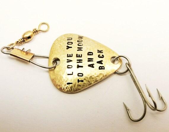 Custom fishing lure brass metal handstamped personalized for Personalized fishing lures