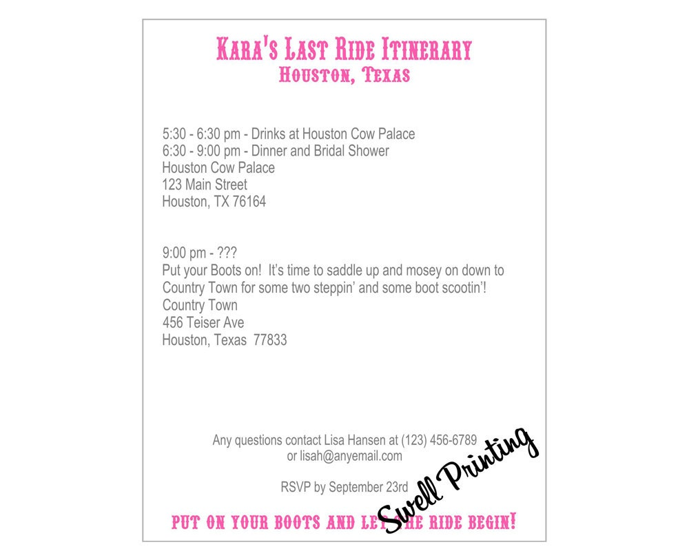 Cowgirl bridal shower itinerary or insert card cowgirl zoom pronofoot35fo Image collections