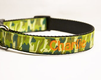Personalized - 1 inch wide Green Camo dog collar- Made to order