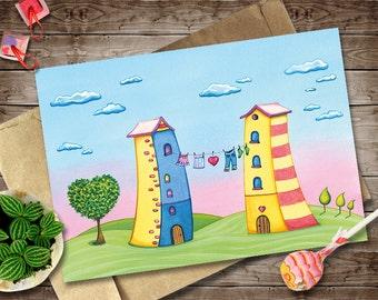 Watercolor Love Card, Digital Invitation, DIY Card, Valentines Day Card, Cartoon Houses, Clothes Line, Love Tree Art Print, Heart