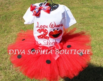 """Look Who's""""  Elmo Tutu Set with Number -Birthday Set - Personalized"""