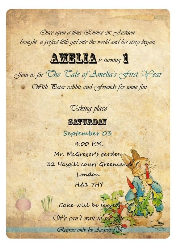 peter rabbit birthday invitations beatrix potter personalized, Birthday invitations