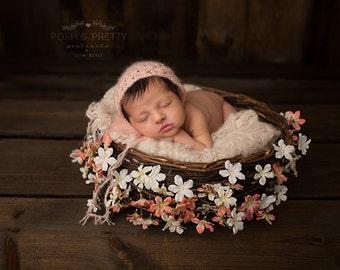 Baby Photo Prop Peach Bonnet , Newborn Girl Soft  Peach  Bonnet ,  Knit Bonne for Baby Girl
