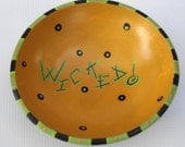 Hand painted upcycled solid wood bowl Wicked Halloween bowl, mustard yellow, lime green and black