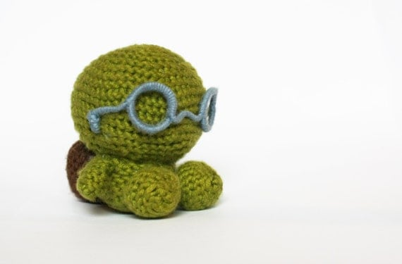 "turtle nerdy crochet 3 x 2.75""  - cute amigurumi sea creature toy - baby toy or decor - baby shower gift"