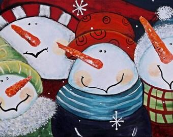 Snowman Painting Acrylic painting Seasonal Decor original acrylic painting 12x24 Snowmen Wall Art Winter Decor Made To Order by jillsfineart