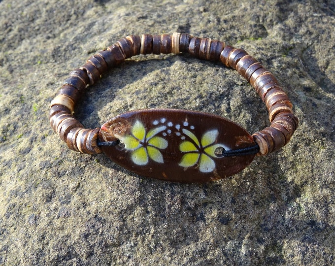 Wooden Coconut Yellow Hibiscus Flower Bracelet - Organic Beach Festival Surf Ethnic World Asian Tribal Tribe Alternative Gap Year
