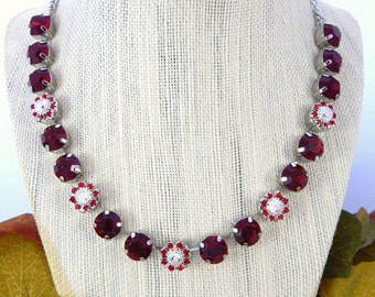 Swarovski Crystal and 47ss Crystal Chaton Necklace, 11mm Siam Red, Ruby, Clear Crystals, Flower Accents, Statement Jewelry, Razzle Dazzle