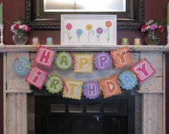 Happy Birthday Banner - Bright Colors Chevron Polka Dots