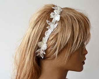 Ivory Lace  Headband, Bridal Hair Accessories, Wedding Hair Accessories, Pearl Headband, Wedding Dress  Accessories