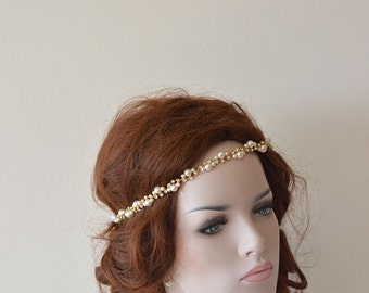 Bridal  Rhinestone and Pearl  headband,  Wedding Headband, Gold Bridal Hair Accessory, Wedding  Accessory