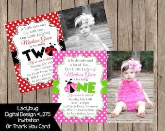 Pink, Red Ladybug Girl Invitation Or Thank you Card Birthday Invitation Custom Colors option  Digital File
