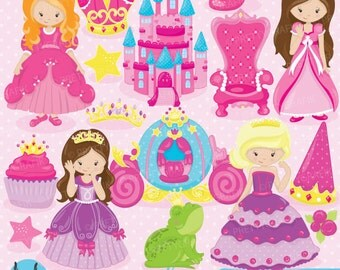 Fairytale princess clipart for scrapbooking, commercial use, vector graphics, digital clip art, images, slumber party - CL748