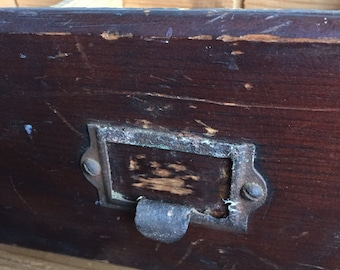 Vintage Divided Drawer with Metal Pull-Handmade from an Old Work Bench-Rustic Patina, Storage or Wall Hanging