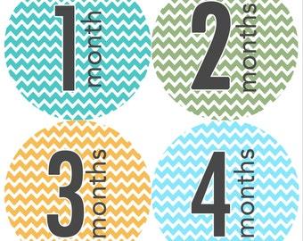 Monthly Onesie Stickers Boy Chevron (1-12 months)