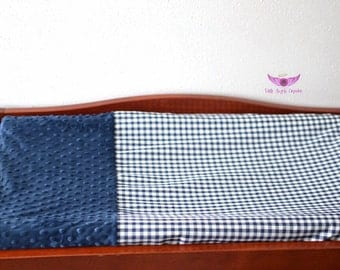 Navy Gingham Fabric and Navy Minky Changing Pad Cover