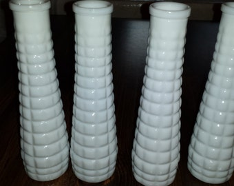 Milk Glass Bud Vases Block Design  F