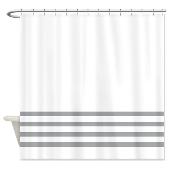 Striped Shower Curtain White With Grey Stripes Or Customize