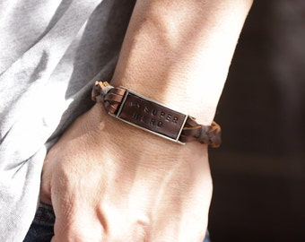 Mens Leather bracelet, Leather wrap bracelet,  leather wristband, Mens leather bracelet  braided band and hand stamped