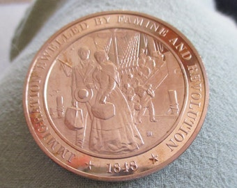 Franklin Mint Solid Bronze coin - 1848-Immigration swelled By Famine and Revolution -  Add to your collection or start a new collection!