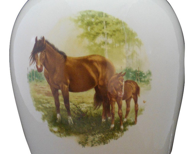 Featured listing image: Horse  Urn Ceramic jar with lid,urn, Jar with lid,large urn, large jar, art pottery, handmade