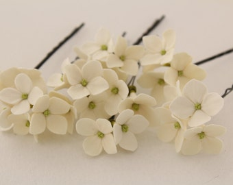 Hair bobby pin polymer clay flowers. Set of 5 pins . Off White, ivory  hydrangea -  5 with 3 flowers