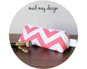 BOGO Sale Pink Chevron Cosmetic Pouch - Triangle Pouch - Cosmetic Bag - Coral Chevron Bag - Toiletry Bag - Standup Pouch - Pencil Case