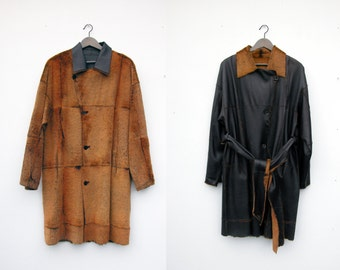Vintage Sinclair reversible rabbit fur / leather jacket / outerwear / black and sienna / made in italy: size 42 medium / large
