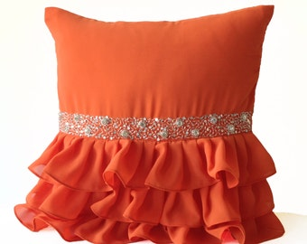 Sequin Pillow Cover -Decorative Pillow -Orange Cushion Cover -Gift Pillow -Crystal Pillow -Silver Sequin Ruffles Pillow -Wedding Anniversary