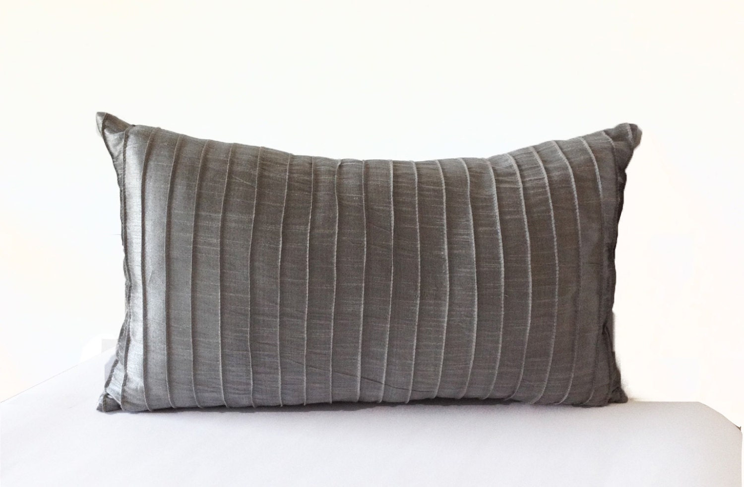 Grey Silk Pleated Textured Pillow Cover Lumbar Pillow Grey