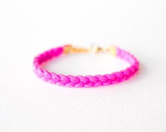 Braided Neon Pink Suede Bracelet