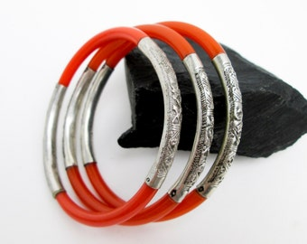 Set of 3 Chinese Export 1920s Silver 900 Repousse Braceletd w. Orange Celluloid Bangles, Chop Mark Hallmark.
