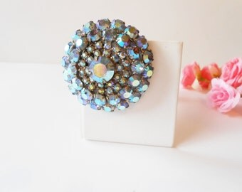 Blue Rhinestone Brooch, Blue Pin, Aurora Borealis, Glamorous Brooch, Costume Jewelry, Sparkly Blue Pin, Vintage Brooch