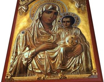 Virgin Mary - Jerusalem - Orthodox Byzantine icon on wood (30cm x 22.2cm)