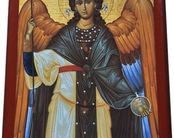 Archangel Gabriel - Orthodox Byzantine Gilded Large icon on wood (29cm x 22cm)