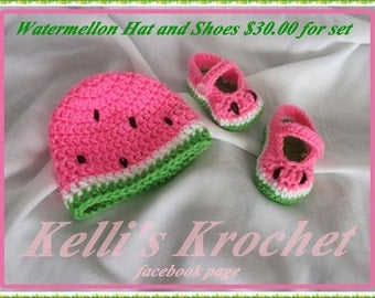 Crocheted Watermellon Beanie and Slippers