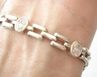 Exceptional Vintage Sterling Crystal Faceted Gemstone CS Bracelet With Rectangle Links