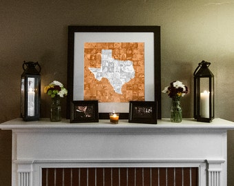 State of Texas Photo Mosaic Collage - 20x20 Inch Print