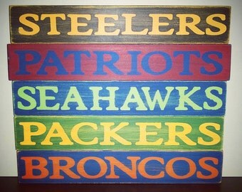 NFL Football Team Name Wood Sign - Shelf Sitter - Great for your Man Cave!